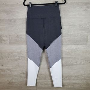 Onzie High Rise Track Legging Gray and White